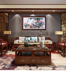景德镇手绘瓷板画中式装饰画客厅书房玄关挂画
