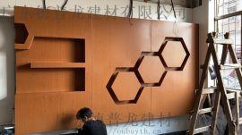 曲造型铝单板木纹浅黄色铝单板 花瓣木纹造型铝单板