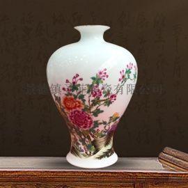 景德镇陶瓷器手绘梅花瓶插花中式家居客厅装饰品摆件