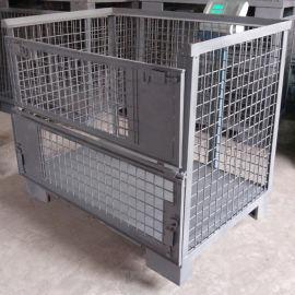 欧式网箱 金属周转箱仓储笼 半开门固定式铁筐