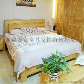 荷纹方型宽展床 桂林新中木家具 崇左矮靠润饰床