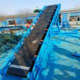瓦房店散粮装卸爬坡输送机Lj8单槽钢绿色裙边皮带机