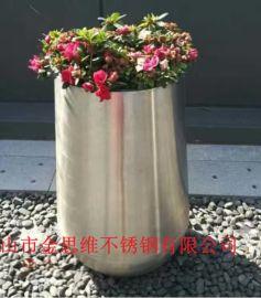 镜面不锈钢大花盆 304不锈钢花盆 花器来图定制