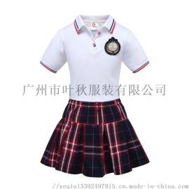广州小学生校服套装定做幼儿园园服白色两件套