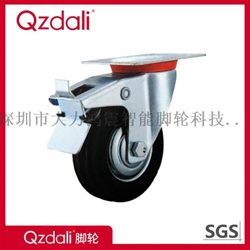 重型脚轮,黑色橡胶轮,镀锌3-8寸工业脚轮