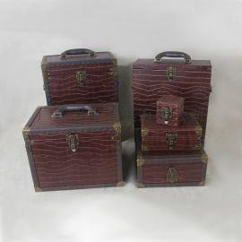 复古手提化妆箱收纳盒双层首饰盒项链戒指盒手表盒带锁