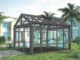 鋁合金陽光房定製靜音隔熱雙層中空鋼化玻璃房平斜頂