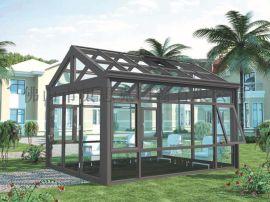铝合金阳光房定制静音隔热双层中空钢化玻璃房平斜顶