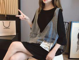假两件T恤裙女短袖宽松韩版中长款设计感小众上衣夏季2020年新款