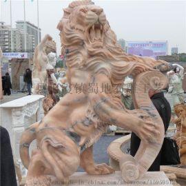 石雕之乡惠安直销海内外晚霞红石雕狮子 欧洲狮雕塑