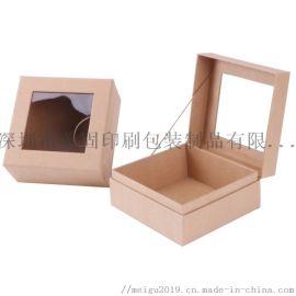 牛皮纸硬纸板开窗翻盖茶叶包装纸盒定制保健品礼盒定制