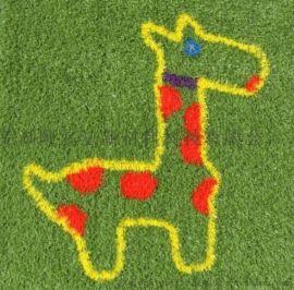 幼儿园四色全绿人造草  幼儿园彩虹跑道人造草坪