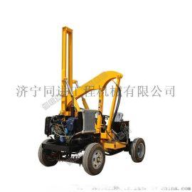 小型液压四轮一体机 打拔钻打桩机 波形防护栏压桩机