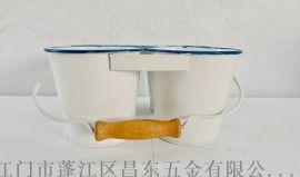 植物装饰桶,双层吊挂式铁皮花桶,