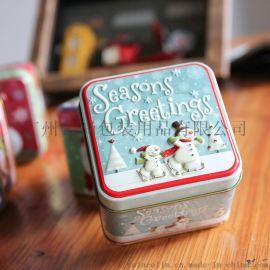 圣诞节马口铁礼品盒糖果盒正方形75*75*65mm