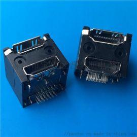 HDMI双层母座A型 38P双层HDMI 90度插板 两层笑脸双接口不带耳朵