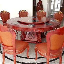 新中式木制大圆桌餐桌实木饭店电动转盘餐桌学校食堂餐桌椅