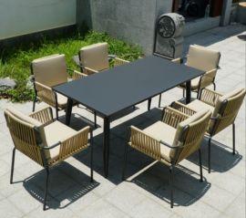 欧式仿藤休闲桌椅组合,庭院藤餐桌椅