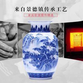 景德镇青花陶瓷花瓶摆件中式客厅插花家居饰品
