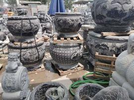 西安仿古石雕鱼盆加工 定制花盆雕刻厂家