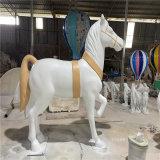 圣诞节装饰玻璃钢白马雕塑 仿真动物雕塑造型