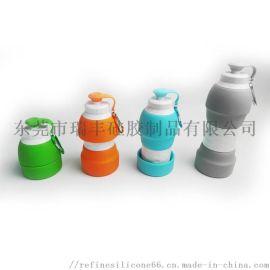 580ML硅胶伸缩水壶 户外折叠运动水壶 旅行水杯