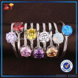 梧州宝石锆石首饰戒指 925银镀铑锆石饰品