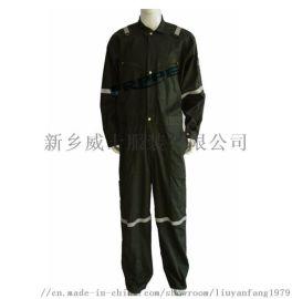 厂家   绿色棉锦连体服 高强力多口袋阻燃工作服