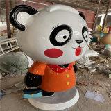 商场入口卡通熊猫雕塑 佛山玻璃钢卡通公仔雕塑