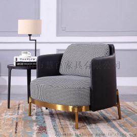 沙发椅 不锈钢钛金单人沙发椅 单人 三人 布艺沙发