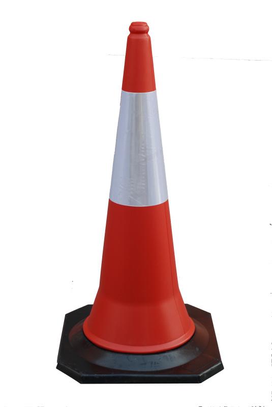 1M黑色橡胶反光PE锥体公路交通警示路锥 雪糕筒
