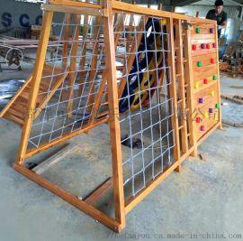 幼儿园木制攀爬架组合进口体能训练