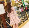 2020夏季新款韓版淑女時尚碎花修身顯瘦鏤空V領荷葉袖A字連衣裙