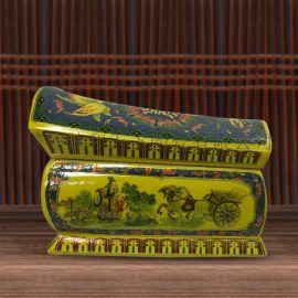 景德镇老式棺材形骨灰坛罐殡葬用品陶瓷棺材火化骨灰盅