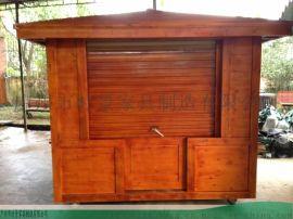 复古流动实木售卖车-棉花糖贩卖手推车-时景家具