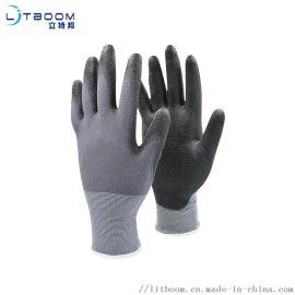 15针、涤纶黑PU防静电手套