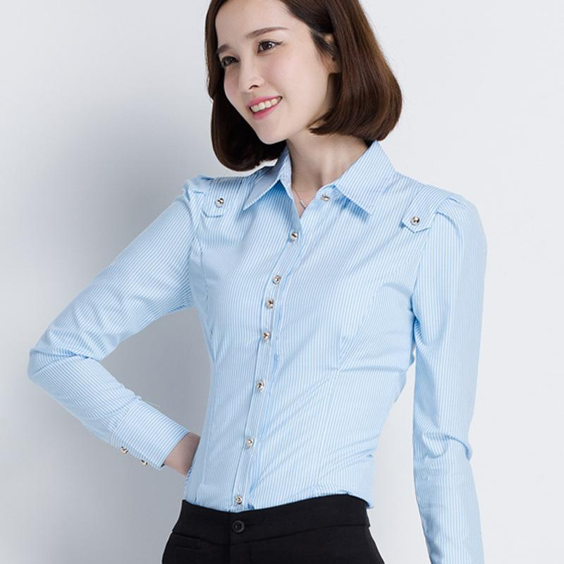 修身显瘦工作服条纹职业女衬衫长袖2016春季新款女装衬衣大码
