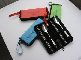 皮夹包餐具情侣四件套 广告创意促销品 不锈钢勺筷两件套