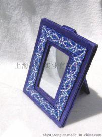 珠绣相框 串珠镜框 手工钉珠相框 手工刺绣相框