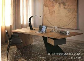 美式乡村家具 LOFT工业风大板桌会议桌工作台书桌 大班台