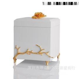 白色金色正方形木质烤漆合金首饰盒欧式创意客厅卧室酒店实木摆件