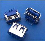 USB短体6.8蓝色胶心10.0mm母座两脚90度
