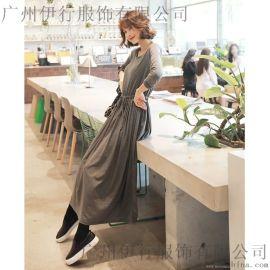 伊袖中**品牌女装代理折扣女装 北京大品牌服装尾货批发市场灰色外套