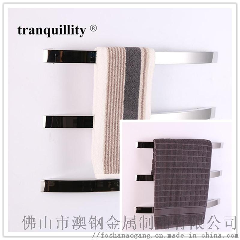 单杆扁管弧形电热毛巾架,时尚不锈钢电热毛巾架