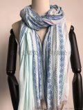 围巾工厂-100%人棉色织小提花长巾