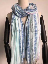 圍巾工廠-100%人棉色織小提花長巾