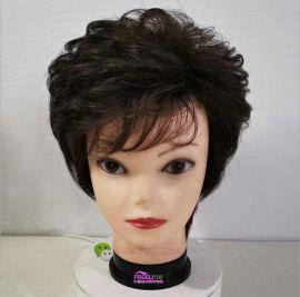 中老年假发送妈妈真发全头套式短发全手织假发
