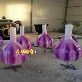 創意模擬土特產玻璃鋼大蒜雕塑模型讓蒜頭基地好運連連