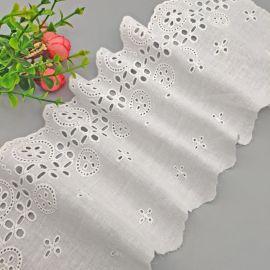 四孔小花全棉布花边几何花型棉线刺绣花边帽饰婚纱布艺
