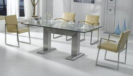 玻璃不锈钢餐桌(SX-A8119)